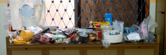 Our counter laden with treats from friends...