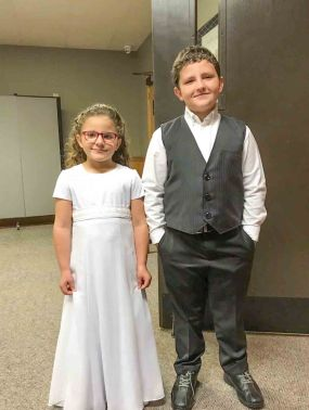 miniature bride and big brother